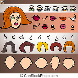 woman face elements set cartoon illustration - Cartoon...