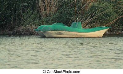 Pedalo Boat Anchored in the lake - Pedalo Boat Anchored at a...