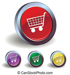 Button with a shopping cart - Four buttons with a shopping...