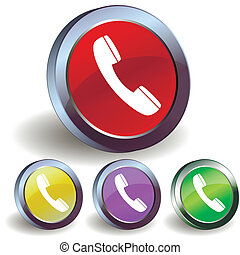 Internet phone button icon - Four internet phone buttons...