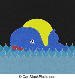 Cute Smiling Whale with stitch style on fabric background