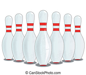 Ten Pins - A ten pin skittle set up isol;ated on white.