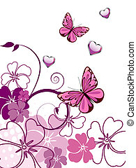 Floral design - Vector illustration of a colorful butterfly...