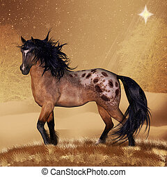 Horse - Equine Horse Christmas Holiday Card Or Wall Art