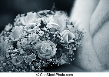Wedding bouquet from roses and chrysanthemums