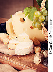 Still life with a variety of cheeses