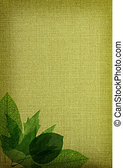 Green leaves on fabric texture