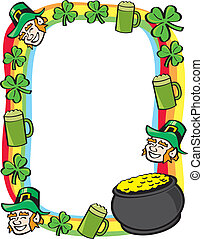 Saint Patricks Day Border - A border made up of cartoon...