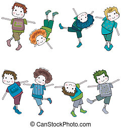 boys having fun, colorful set of 8 characters