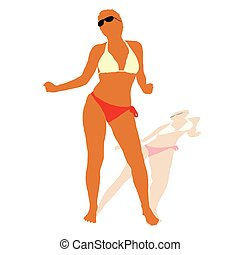 sexy girl in bikini vector illustration