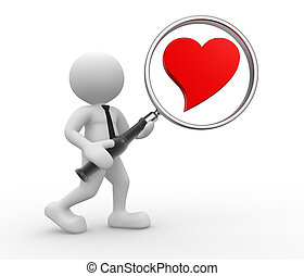 Heart - 3d people - man, person with magnifying glass and a...
