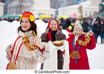 Women during Maslenitsa festival in Russia - Women with...
