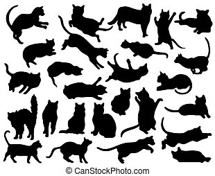 26 Cat Silhouettes - A collection of 26 various cat poses...
