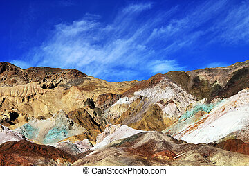 Color mountains of Death valley - The variegated slopes of...