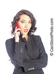 Business woman on the phone isolated on white