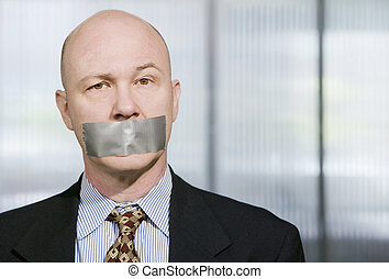 Muzzled Businessman - Businessman silenced with duct tape...