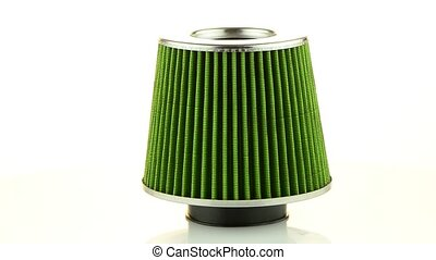 Air cone filter rotating on white background Vehicle...