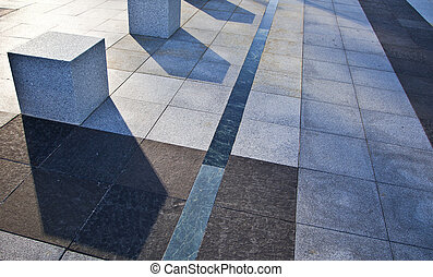 Urban landscape. Paving business areas of Madrid