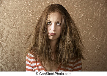 Young Woman with Messy Hair - Portrait of a young woman with...