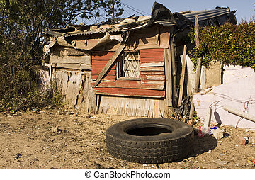 South African Shanty - A typical shanty home in a South...