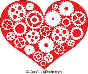 Red Heart with Mechanical Gears Illustration