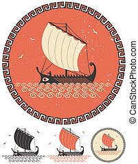 Greek Ship - Stylized illustration of ancient Greek ship in...