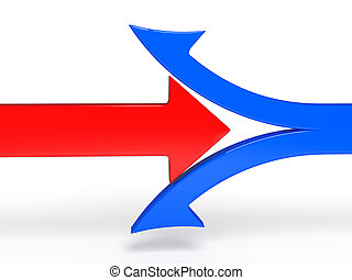 3d illustration of breaking boundary red arrow