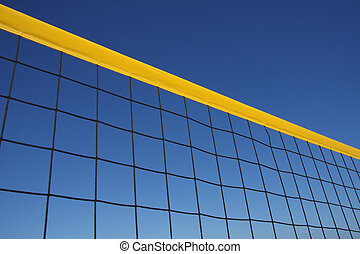 Beach Volley - Detail of beach volley net wit a perfect blue...