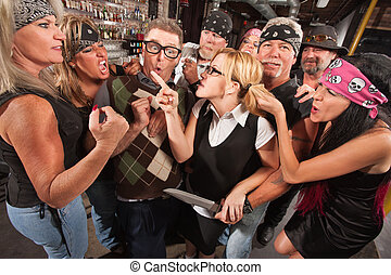 Woman Pointing at Thugs in Bar - Female nerd with husband...
