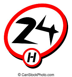 24h icon - Creative design of 24h icon