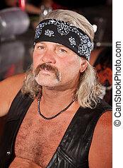Tough Biker Gang Member - Tough Caucasian gang member with...