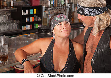 Tough Loving Couple in Bar - Mature biker gang female...