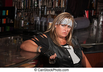 Grumpy Woman Holding Drink Glass - Grumpy biker gang lady...