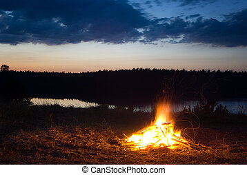 Campfire. - Campfire at dusk. Long exposure. Location:...
