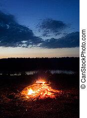 Campfire. - Campfire at dusk. Long exposure.