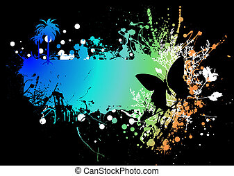butterfly rainbow subtle - rainbow ink splat background with...