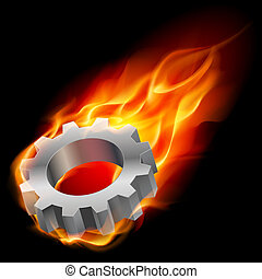 Gearwheel in fire - Realistic gearwheel in fire Illustration...