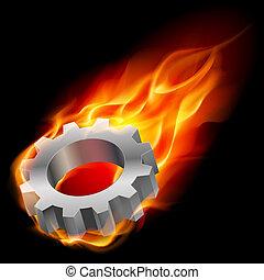 Gearwheel in fire - Realistic gearwheel in fire....