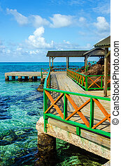 Dock and Tropical Water - A colorful dock with clear...