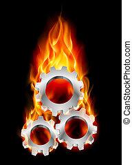 Gearwheel in fire - Gearwheel in Fire. Illustration on black...