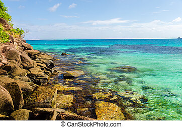 Caribbean Sea View - View of Caribbean sea and rocks on the...