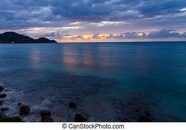 Caribbean Sunset - View of the Caribbean coast just after...