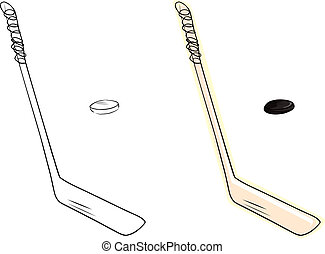 Ice Hockey Stick and Puck - Isolated ice hockey stick and...