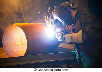 welder at work - welder at factory work