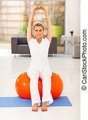 donna, Palla, esercizio, seduta