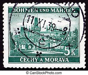 Postage stamp Czechoslovakia 1939 View of Prague -...