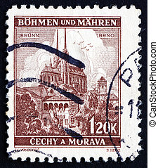 Postage stamp Czechoslovakia 1939 Cathedral at Brno -...