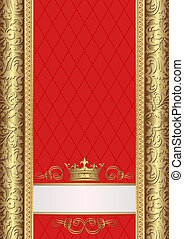 royal background - gold and red royal background with crown