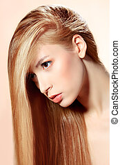 hair care - Beautiful blonde woman with magnificent long...