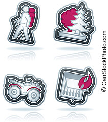 Outdoor activity - 4 icons in relations to summer outdoor...